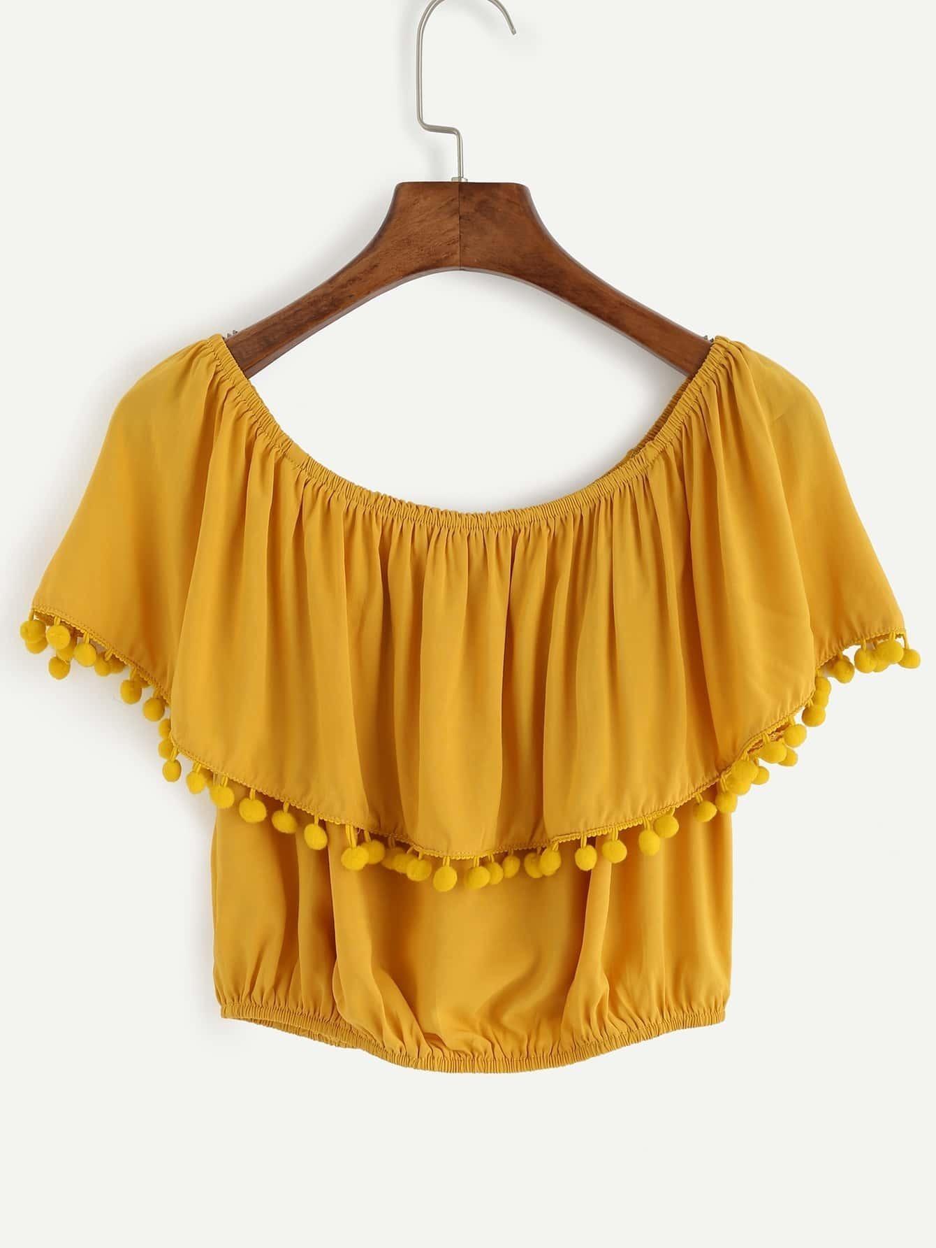 78ddc526ecf37d Yellow Pom Pom Trim Ruffle Off The Shoulder Top EmmaCloth-Women Fast  Fashion Online