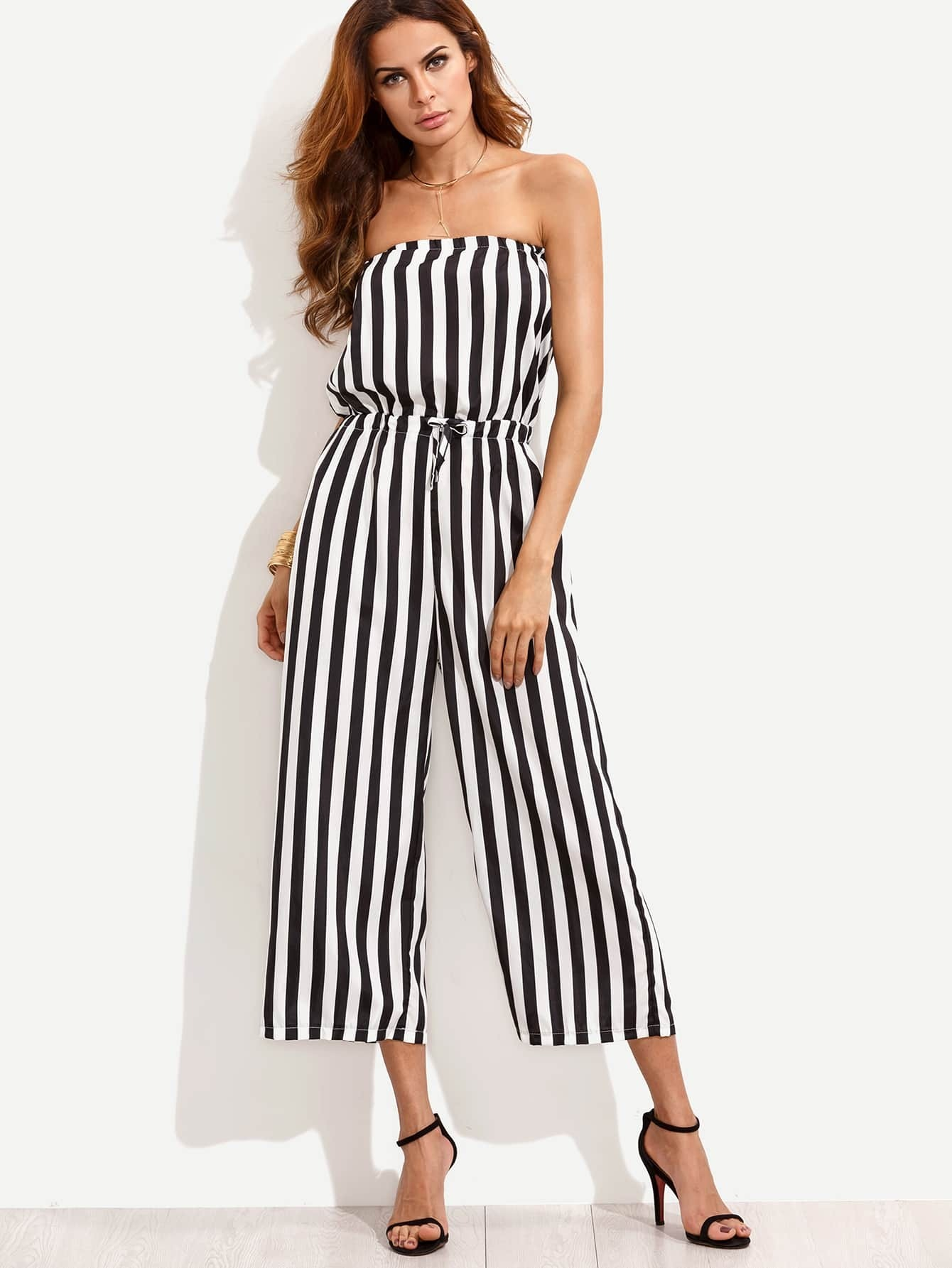 fa4af21a47e0a Black White Vertical Striped Drawstring Bandeau Jumpsuit EmmaCloth ...