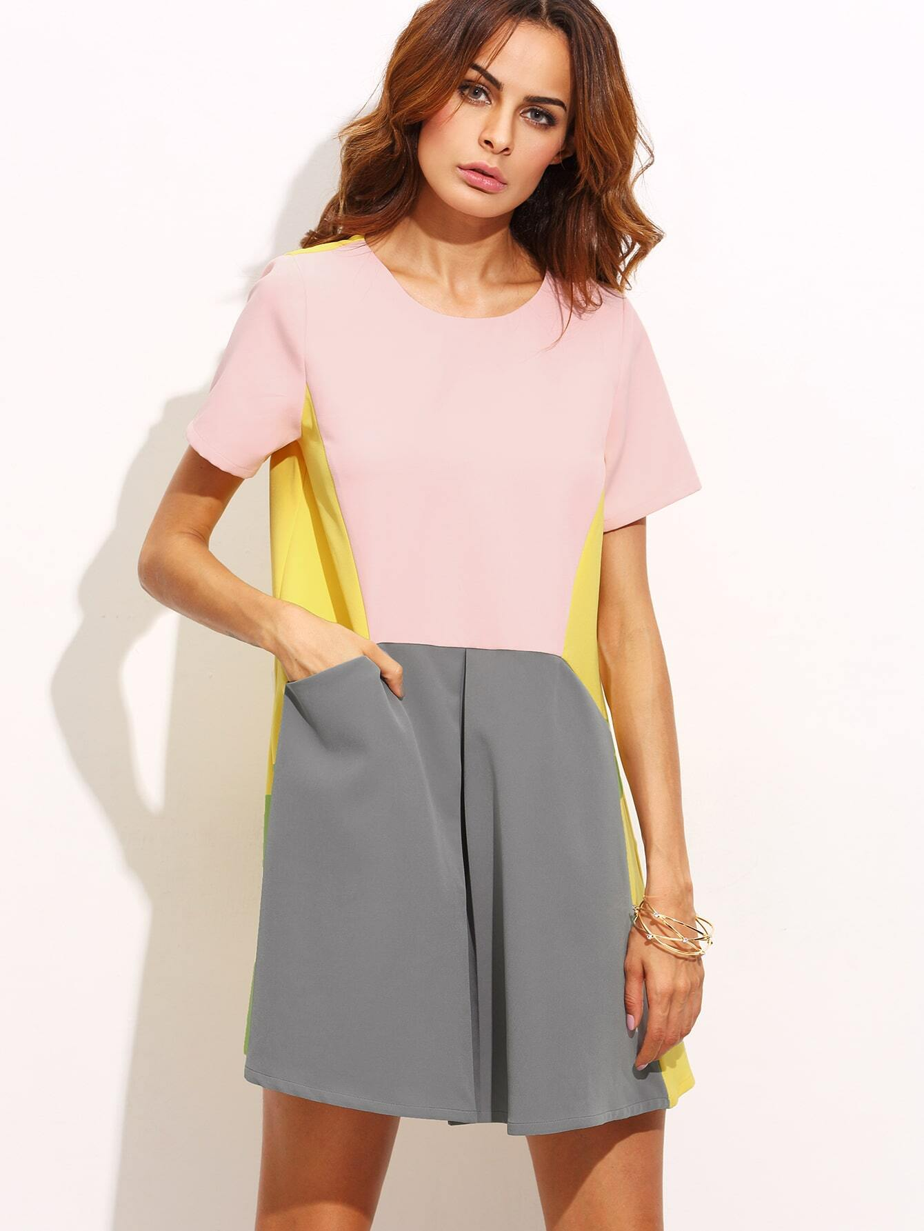 7f6098e1a6f Color Block Pocket Loose Fitted Dress EmmaCloth-Women Fast ...