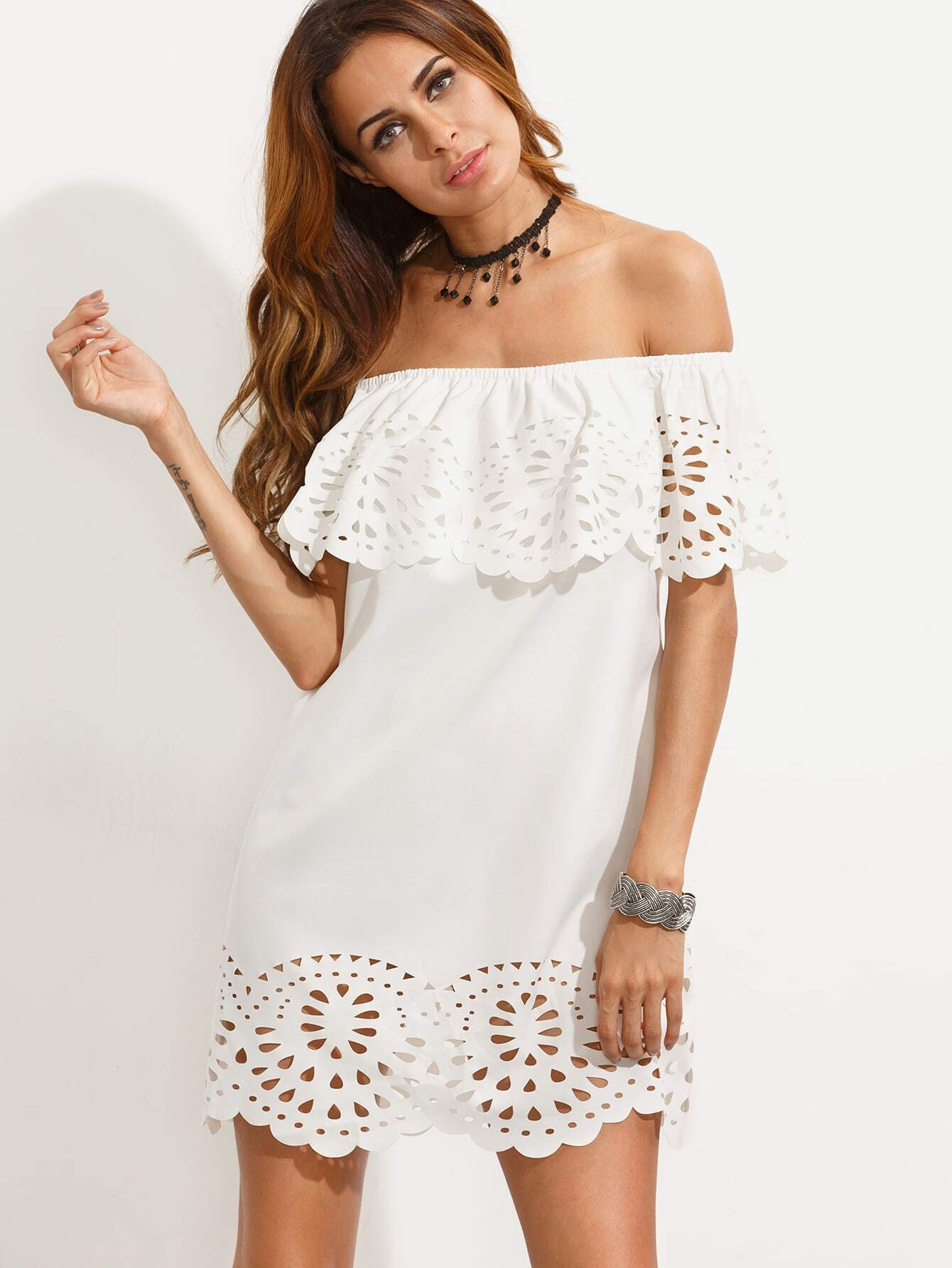 21ab2ed3d8 White Cutout Off The Shoulder Ruffle Dress EmmaCloth-Women Fast ...