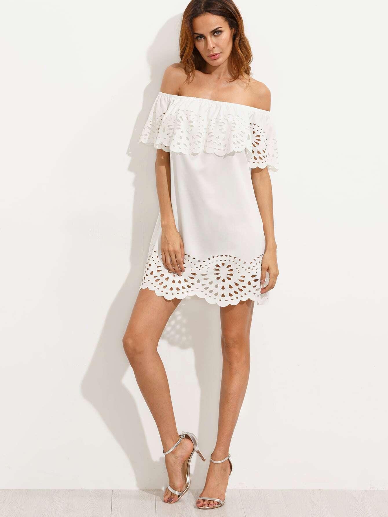 White Cutout Off The Shoulder Ruffle Dress EmmaCloth-Women Fast ...