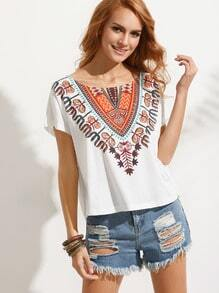 Multicolor Print Short Sleeve T-shirt