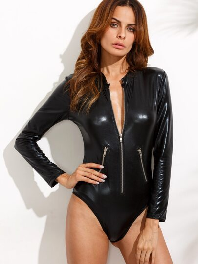 Black PU Zipper Front Bodysuit