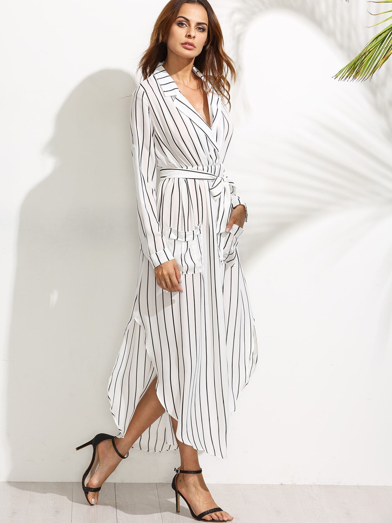 a56743e9314 White Vertical Striped Notch Lapel Belted Shirt Dress EmmaCloth ...