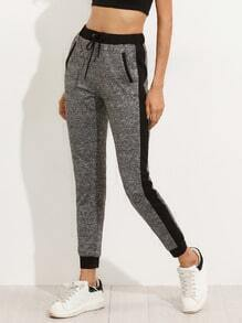 Grey Pocket Tie Waist Pants