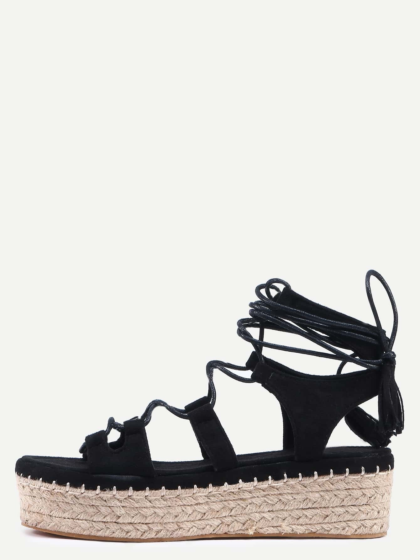 3c08af261158 Black Peep Toe Tassel Lace-up Espadrille Wedges EmmaCloth ...