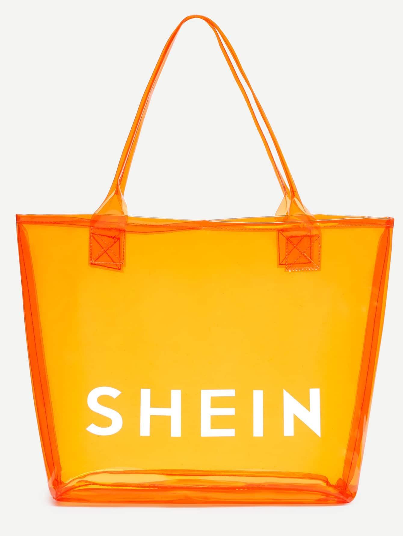 5d7e4b4620 Orange SHEIN Print Clear Beach Tote Bag EmmaCloth-Women Fast Fashion ...
