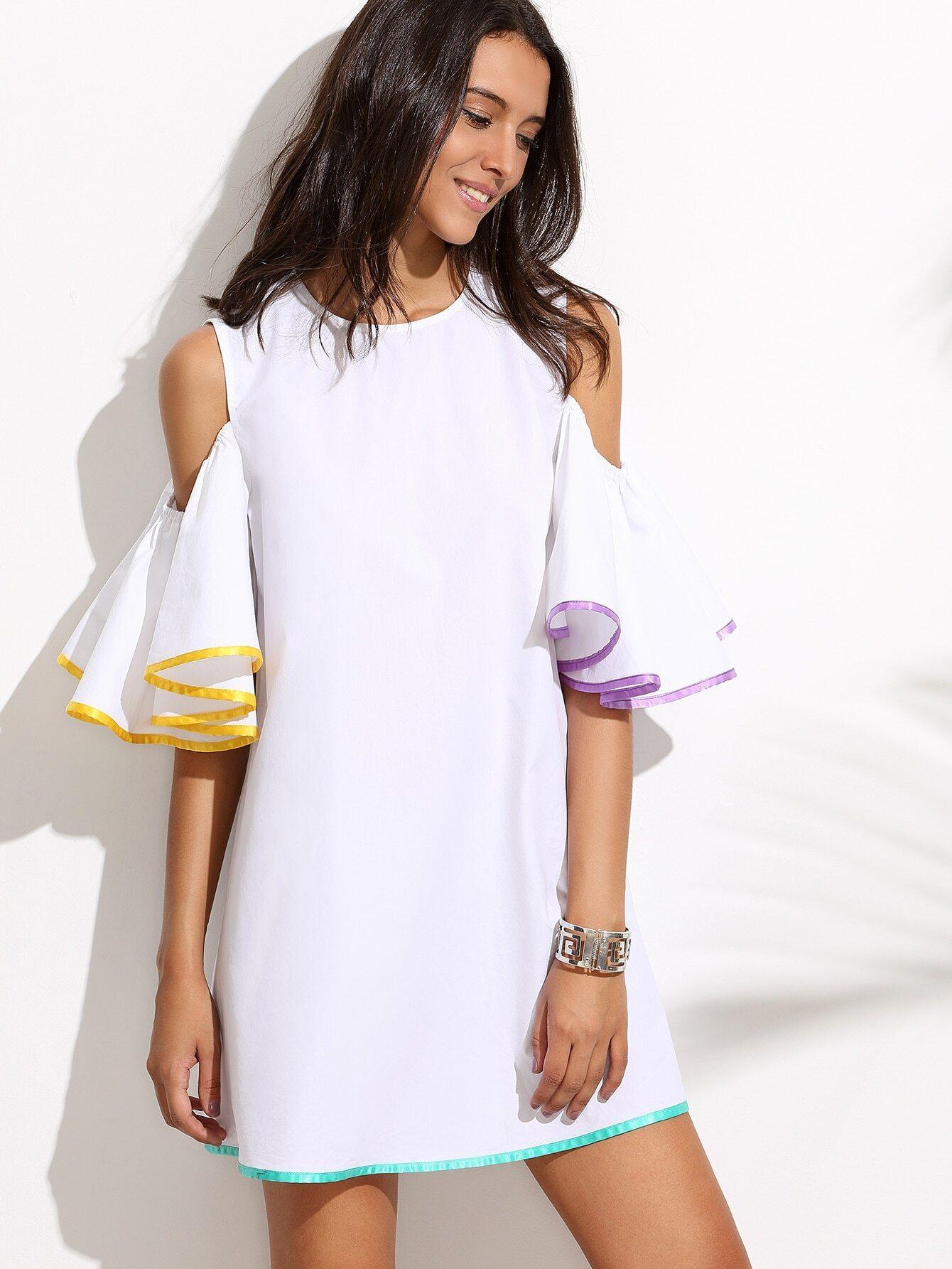 409d0120d6346 White Ruffle Sleeve Cold Shoulder Dress EmmaCloth-Women Fast Fashion ...