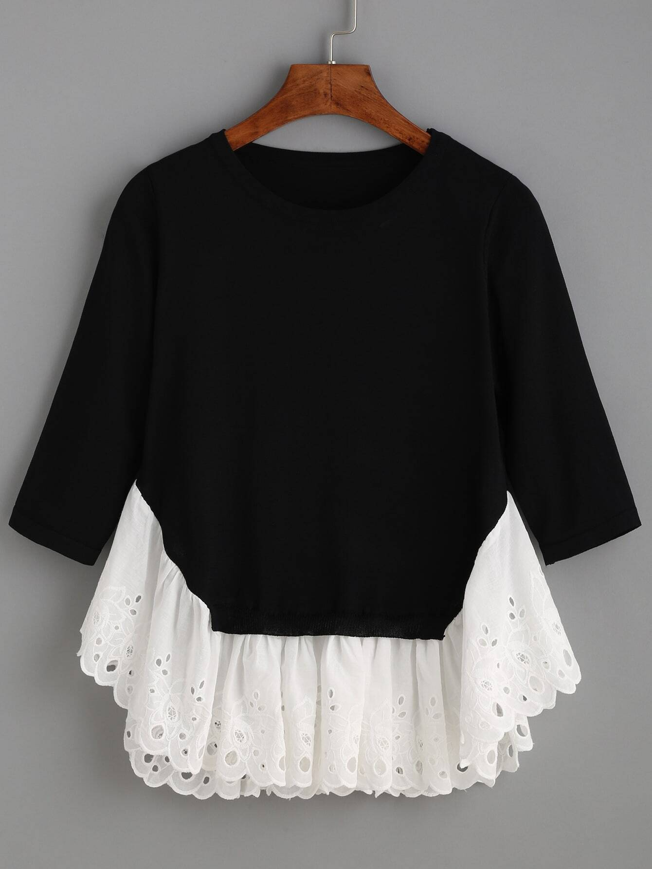 1874a66ee9 Black Long Sleeve Contrast Ruffle Hem Sweater EmmaCloth-Women Fast ...