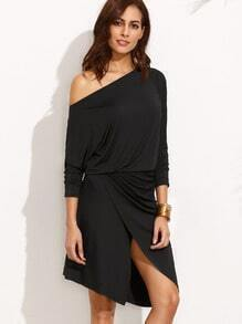 Black One Shoulder Asymmetrical Dress