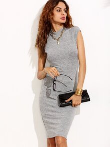 Grey High Neck Cap Sleeve Sheath Dress