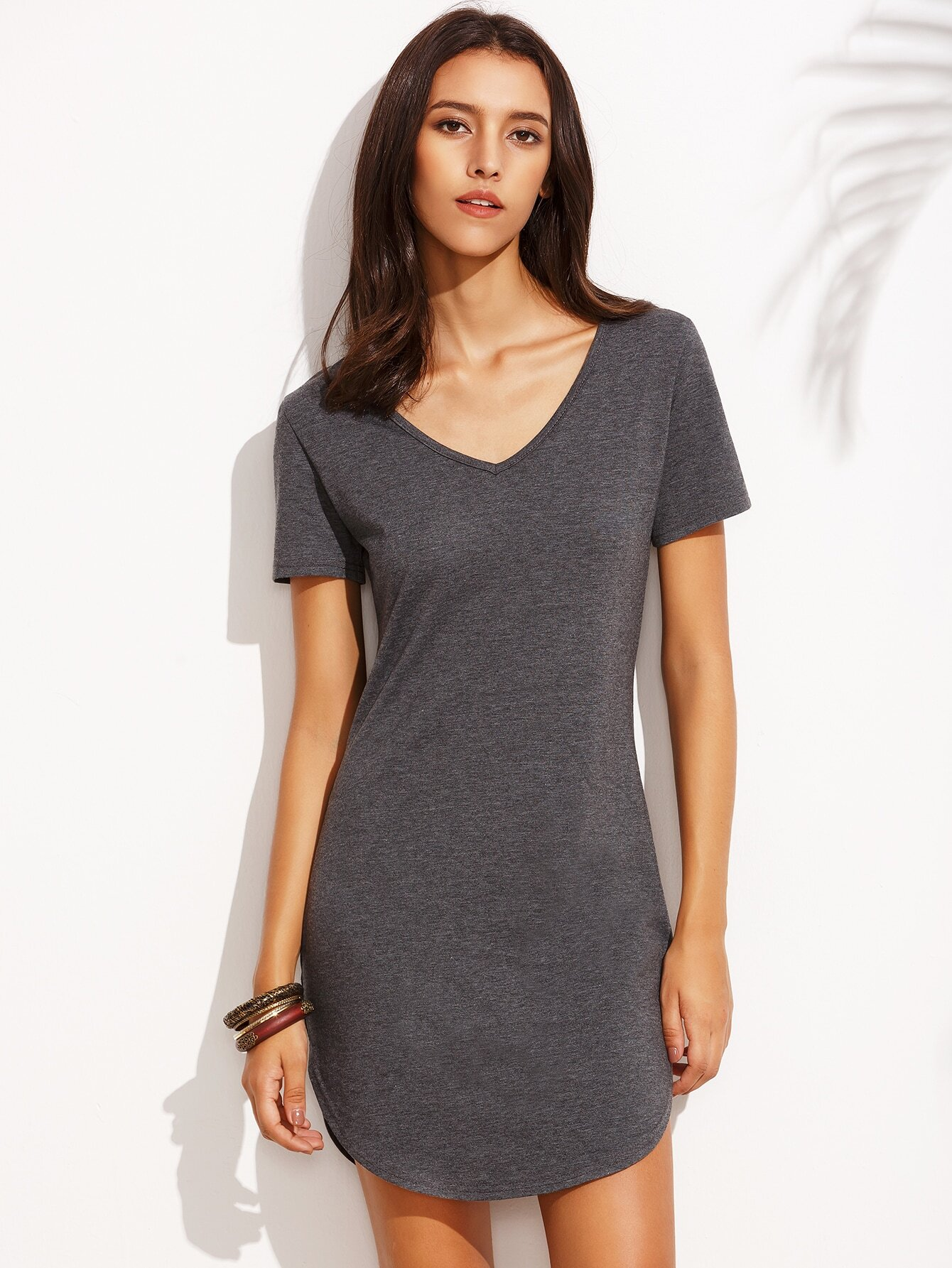 4b2f90a7106 Heather Grey Curved Hem T-shirt Dress EmmaCloth-Women Fast Fashion ...