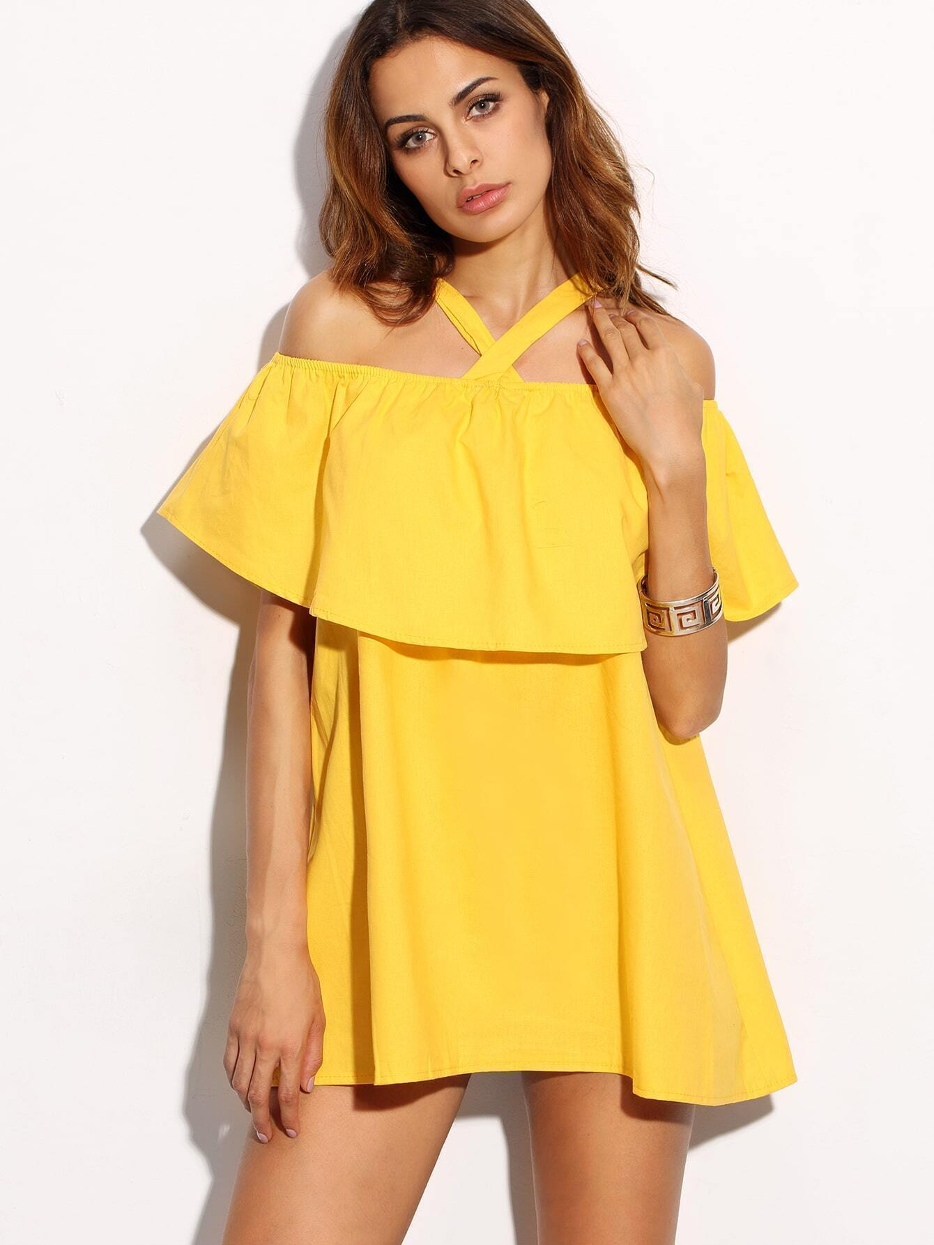 e4b5871d8a Yellow Crossover Cold Shoulder Ruffle Dress EmmaCloth-Women ...