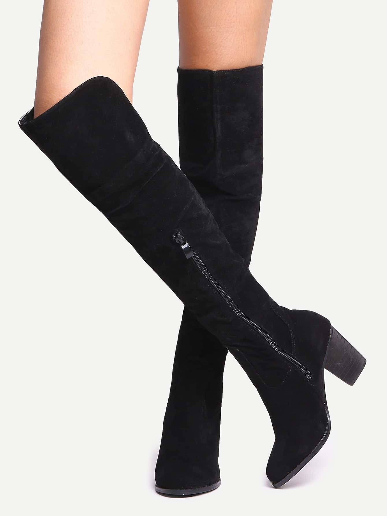 df51e9ba680 Black Suede Over The Knee Zipper Boots EmmaCloth-Women Fast Fashion Online