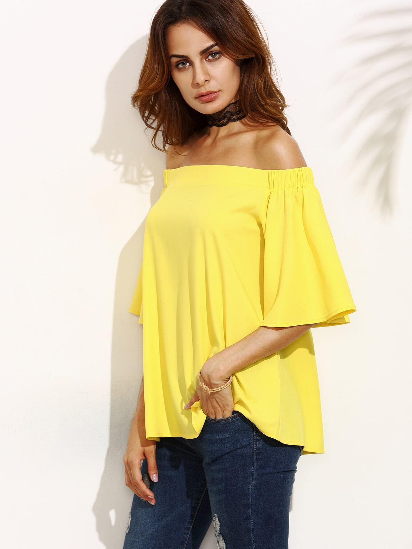 4e04691e597 Yellow Ruffle Sleeve Off The Shoulder Blouse EmmaCloth-Women Fast ...