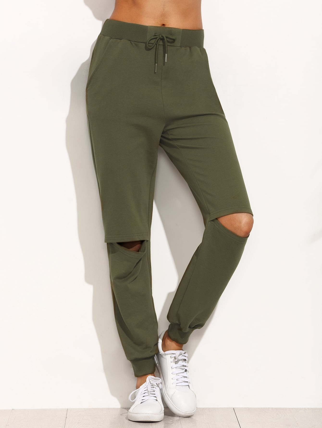 c88a38db7d Army Green Tie Cut Out Knee Long Pants EmmaCloth-Women Fast Fashion ...