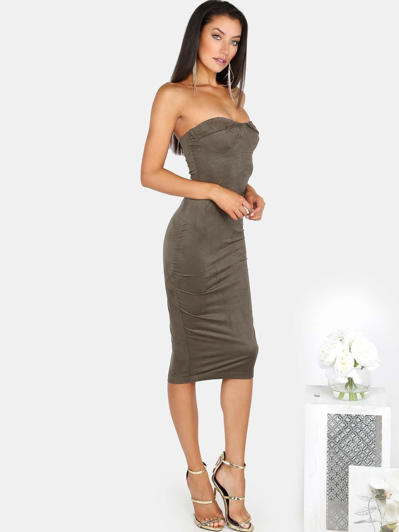 8bdfd4fe56d701 Suede Strapless Bustier Dress OLIVE EmmaCloth-Women Fast Fashion Online