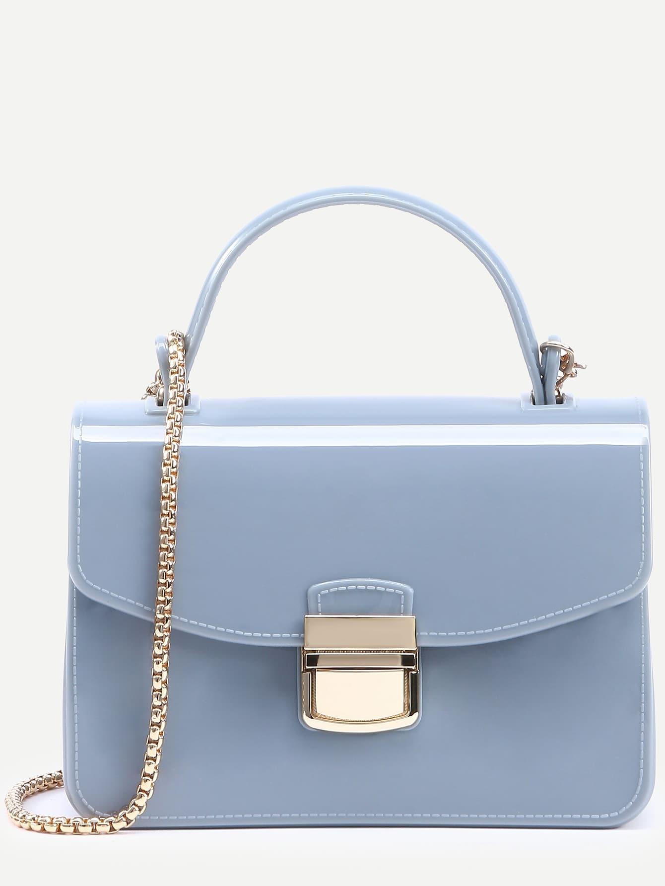 daa9bbb8b1 Baby Blue Pushlock Closure Plastic Handbag With Chain EmmaCloth ...
