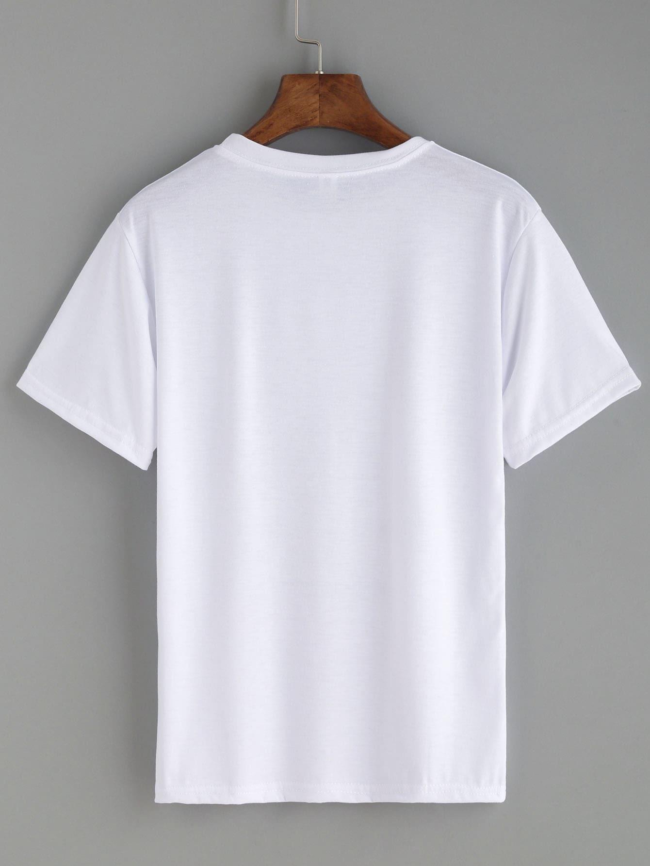 b2d0dcd48f White Hand Gesture Print T-shirt EmmaCloth-Women Fast Fashion Online