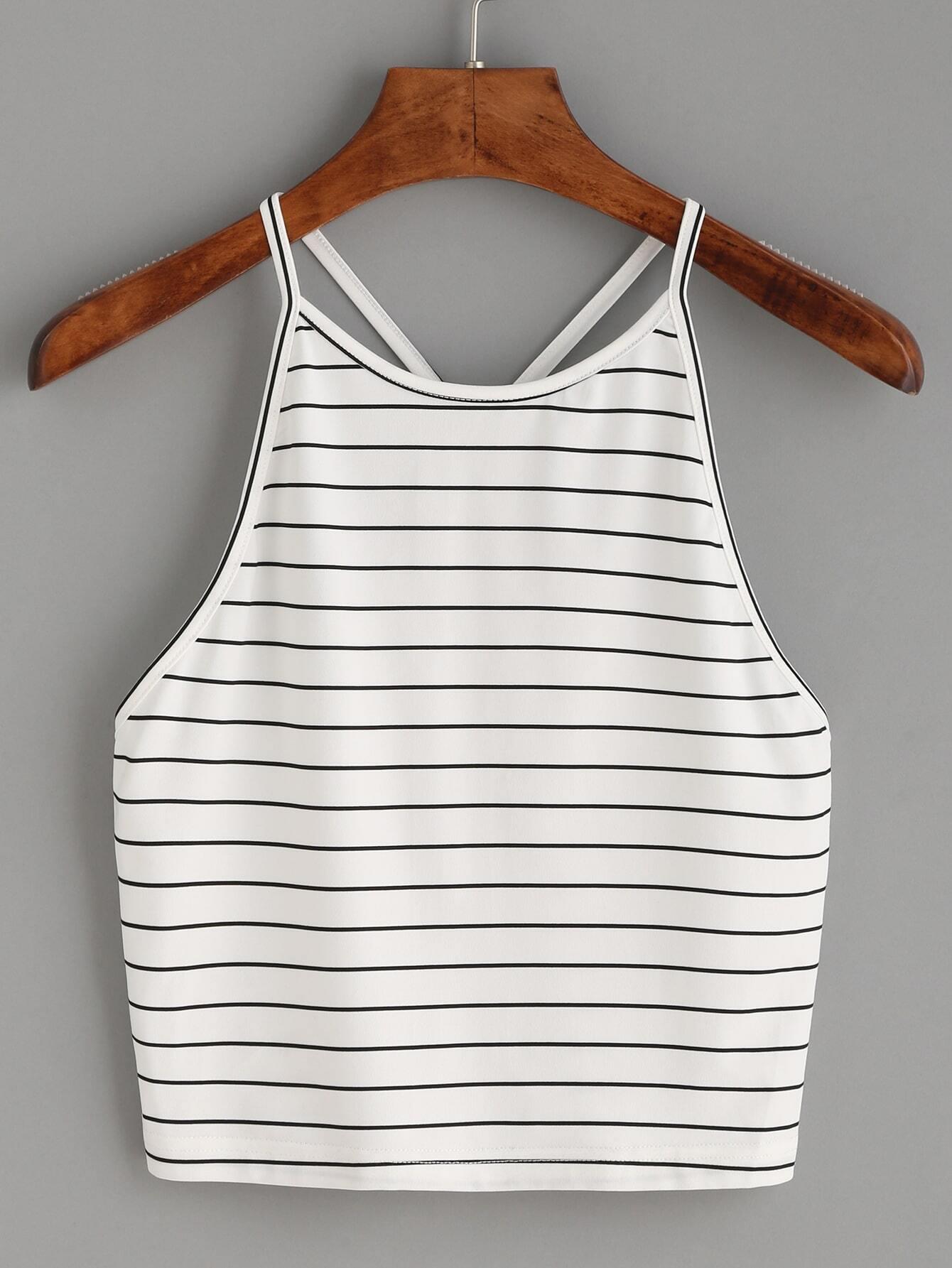 838f1e5df499a White Striped Y Back Cami Top EmmaCloth-Women Fast Fashion Online