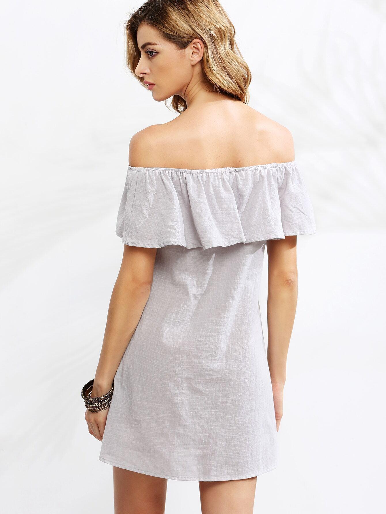 37c4495d03 Grey Off The Shoulder Ruffle Dress EmmaCloth-Women Fast Fashion Online