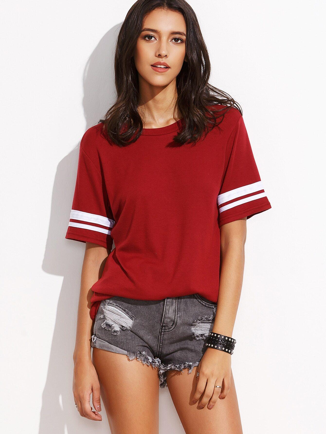 b45fb6828b0 Burgundy Striped Trim Varsity T-shirt EmmaCloth-Women Fast Fashion ...