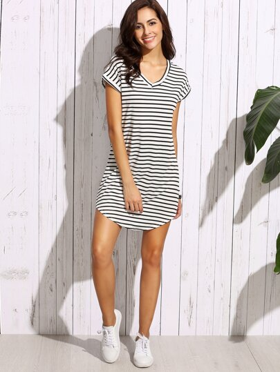 a7d3c9eecce Black White Striped Drop Shoulder Tshirt Dress EmmaCloth-Women Fast ...