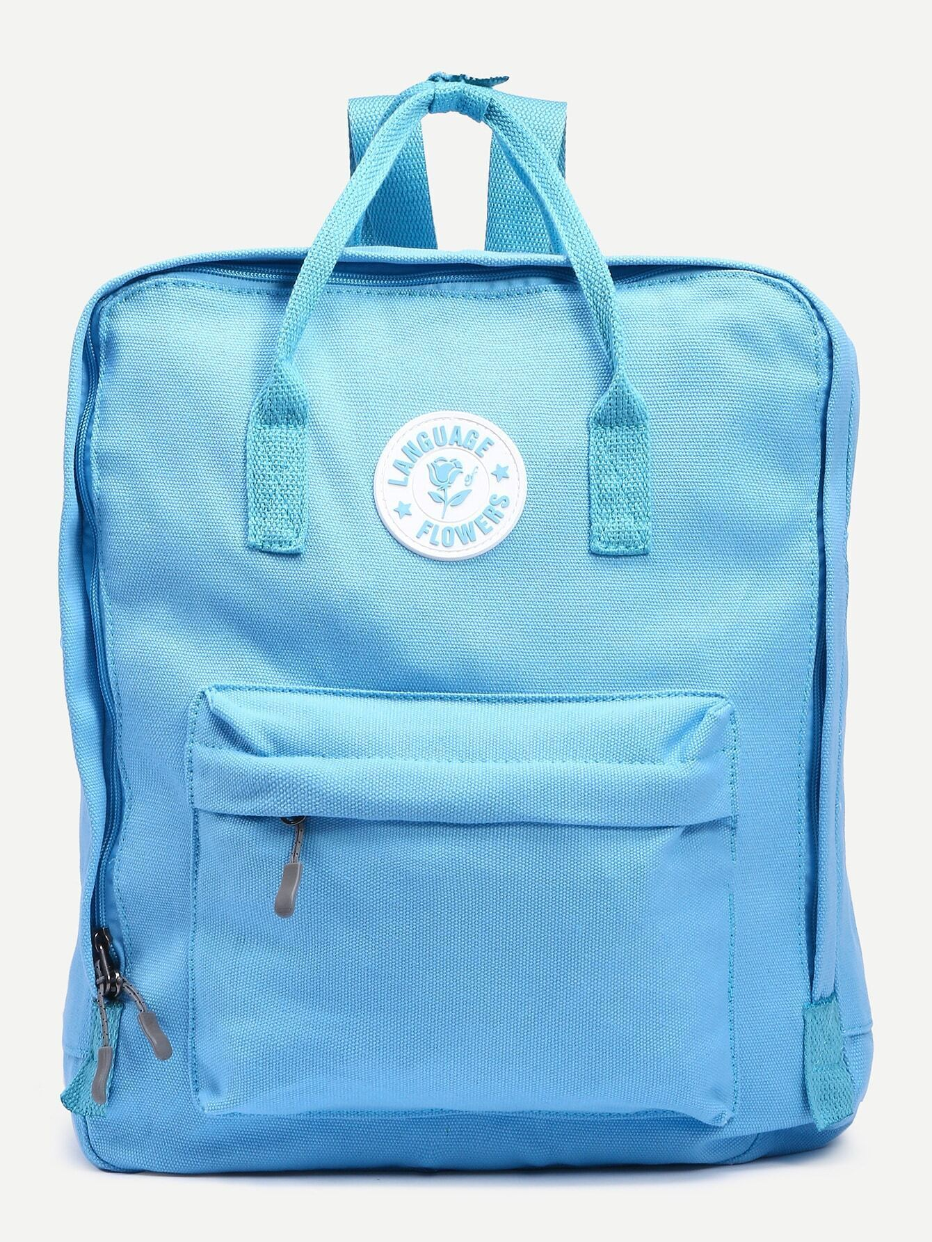 977d917907e8 Blue Double Handle Square Canvas Backpack EmmaCloth-Women Fast ...