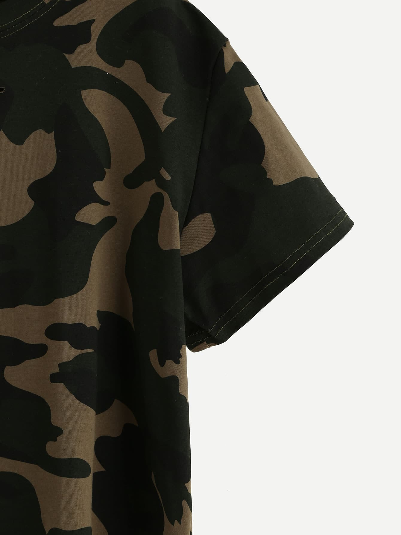 796c97ecd9378 Camo Print Distressed Crop T-shirt EmmaCloth-Women Fast Fashion Online