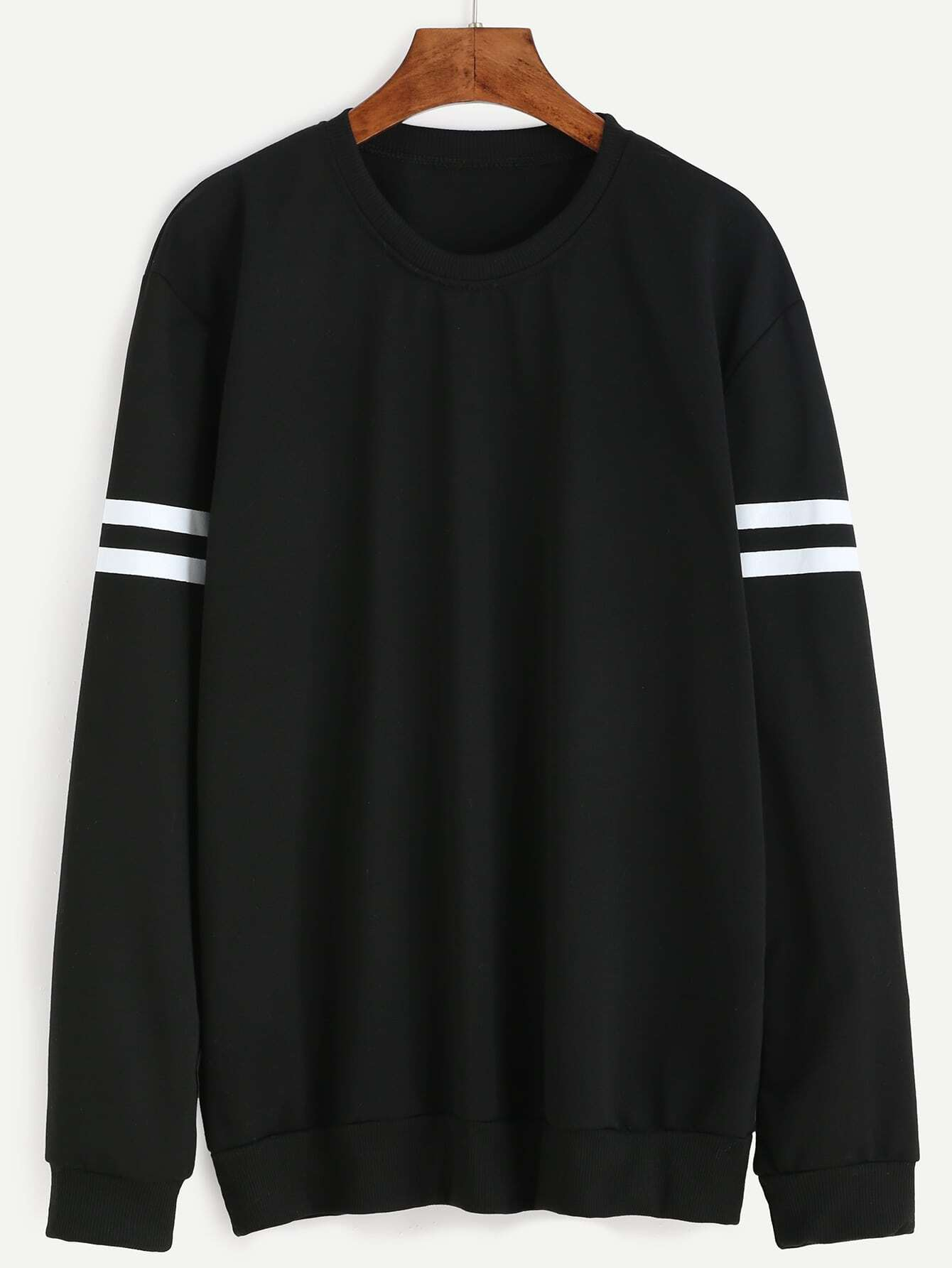 13ed12d8a1b Black Varsity Striped Sweatshirt EmmaCloth-Women Fast Fashion Online