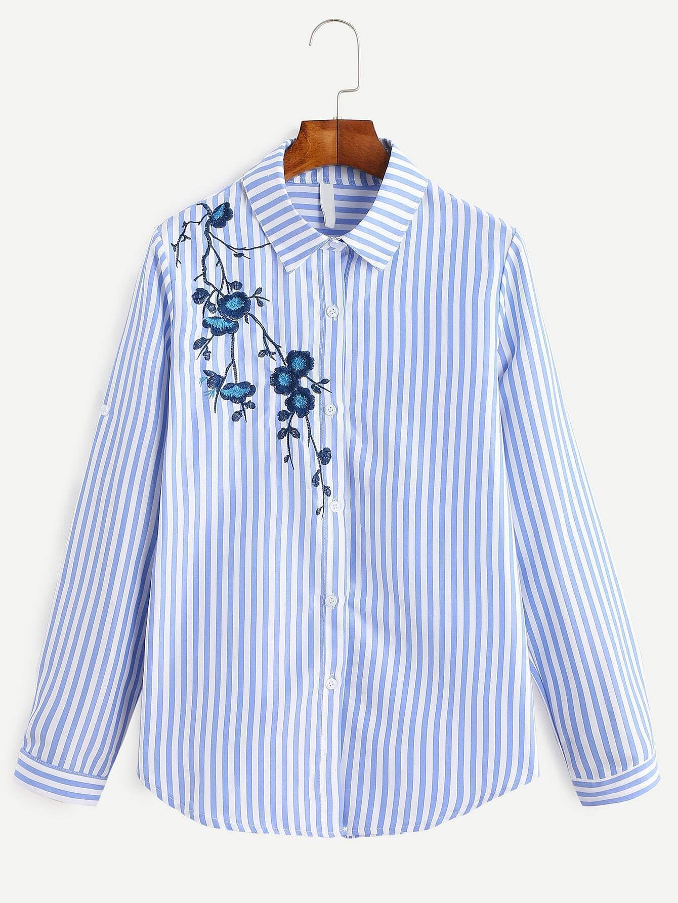 da57db1dc8 Blue Vertical Striped Embroidered Roll Tab Sleeve Shirt EmmaCloth ...
