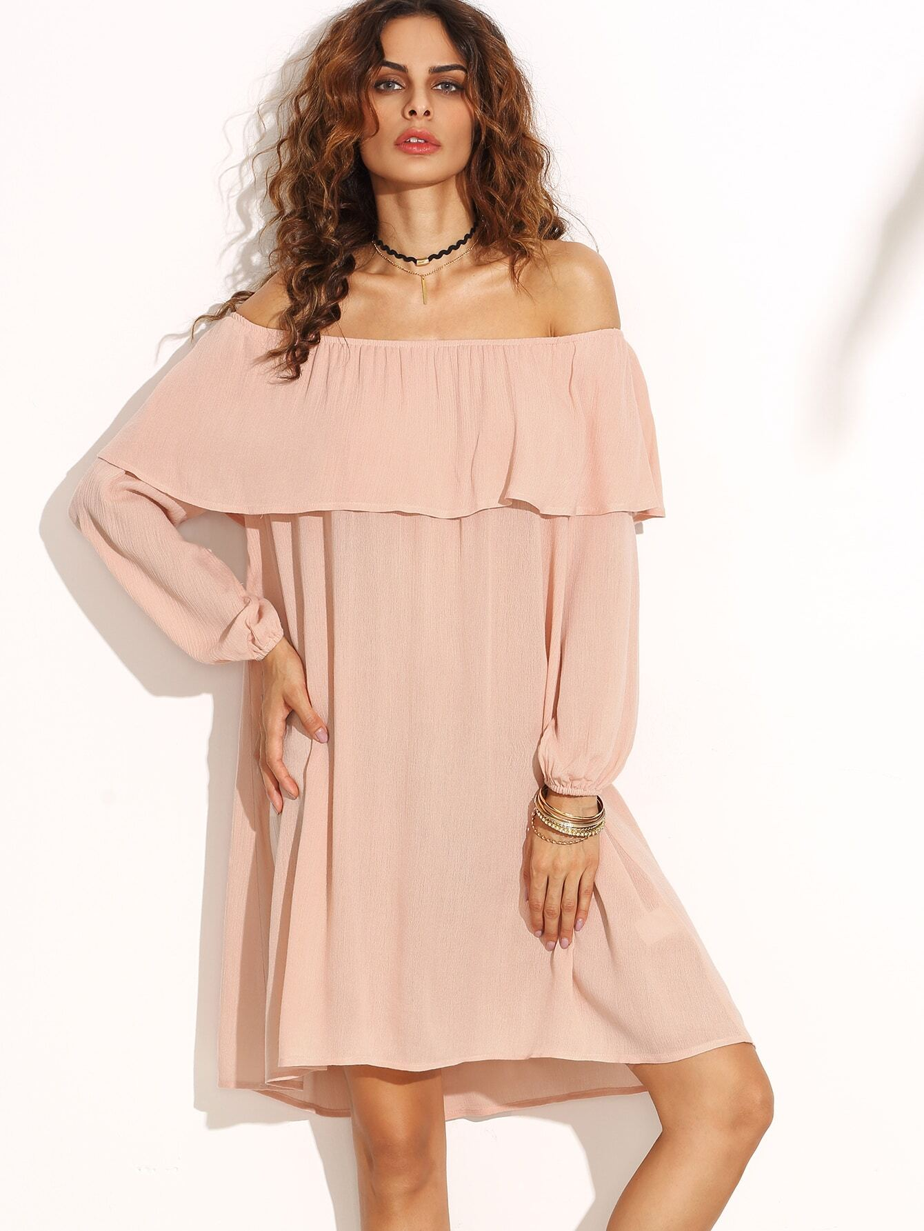 55f05d68f5 Pink Ruffle Off The Shoulder Swing Dress EmmaCloth-Women Fast ...