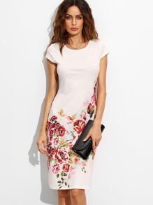 White Rose Print Cap Sleeve A Line Dress