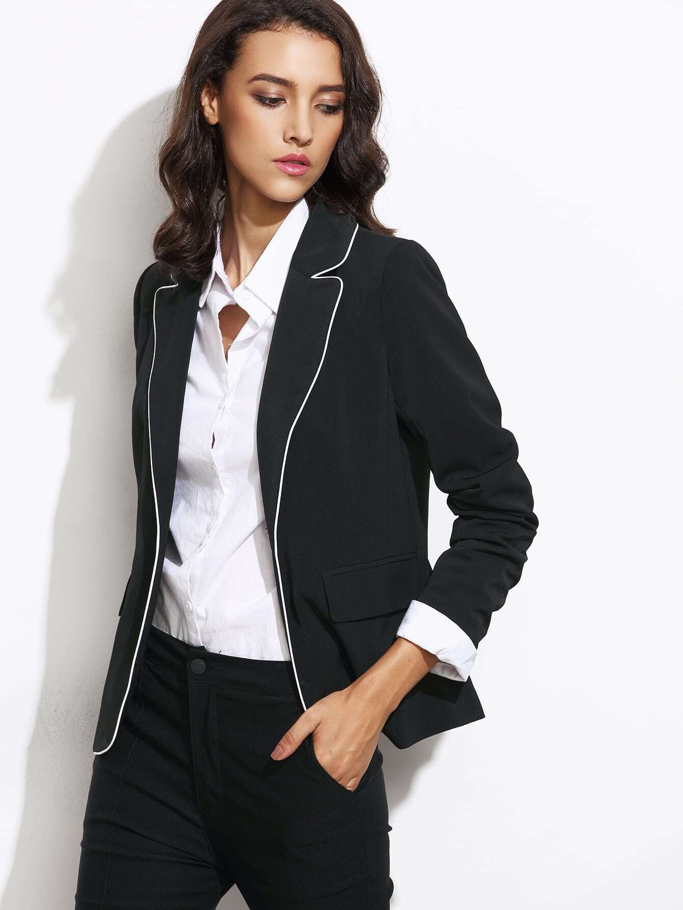 cc339fda9c1 Black Contrast Piping One Button Blazer With Flap Pocket EmmaCloth ...