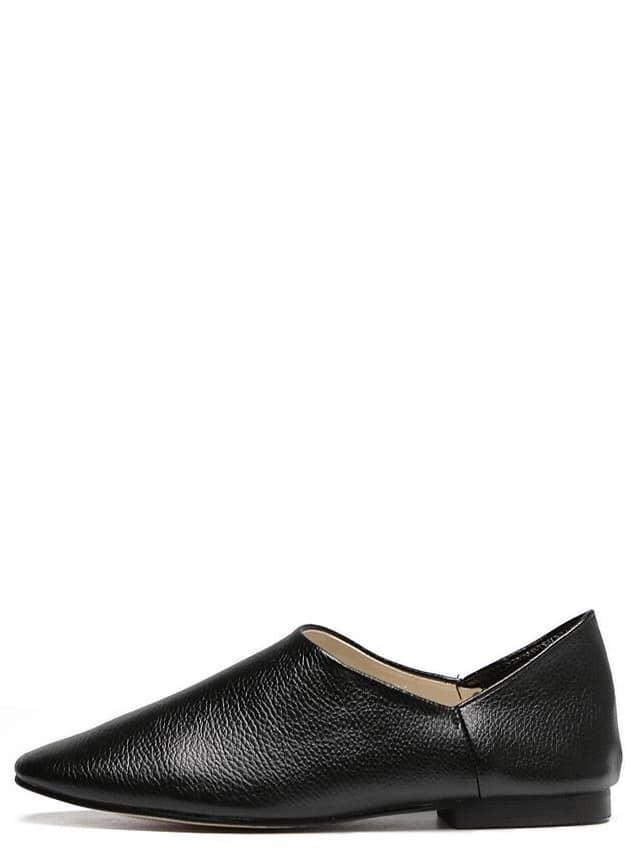 9ac7d88f7c0 Black Square Toe Faux Leather Slip On Flats EmmaCloth-Women Fast ...