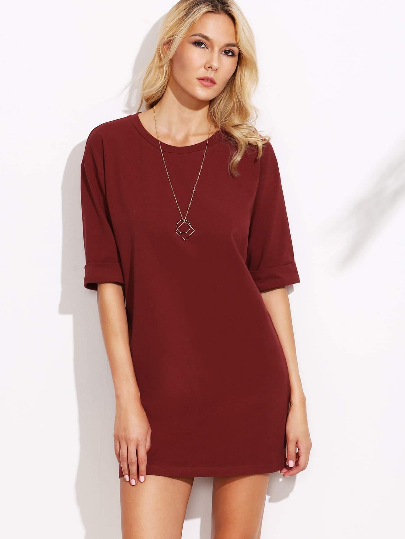 f2ad44ab90 Burgundy Drop Shoulder Roll Sleeve Tee Dress EmmaCloth-Women ...