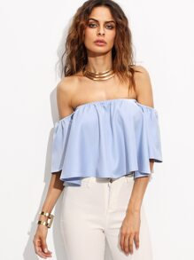 Blue Off The Shoulder Bell Sleeve Crop Top