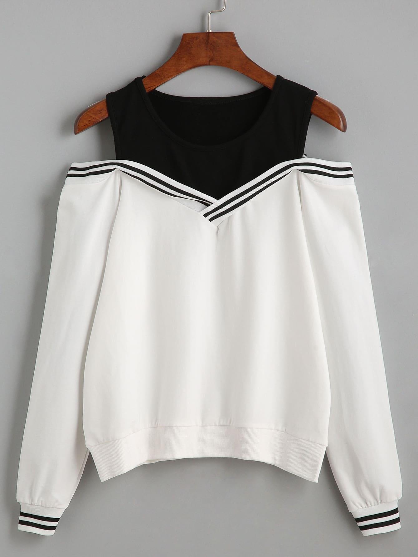 7a07cafc0e8 Black Varsity Striped Contrast Open Shoulder Sweatshirt EmmaCloth ...