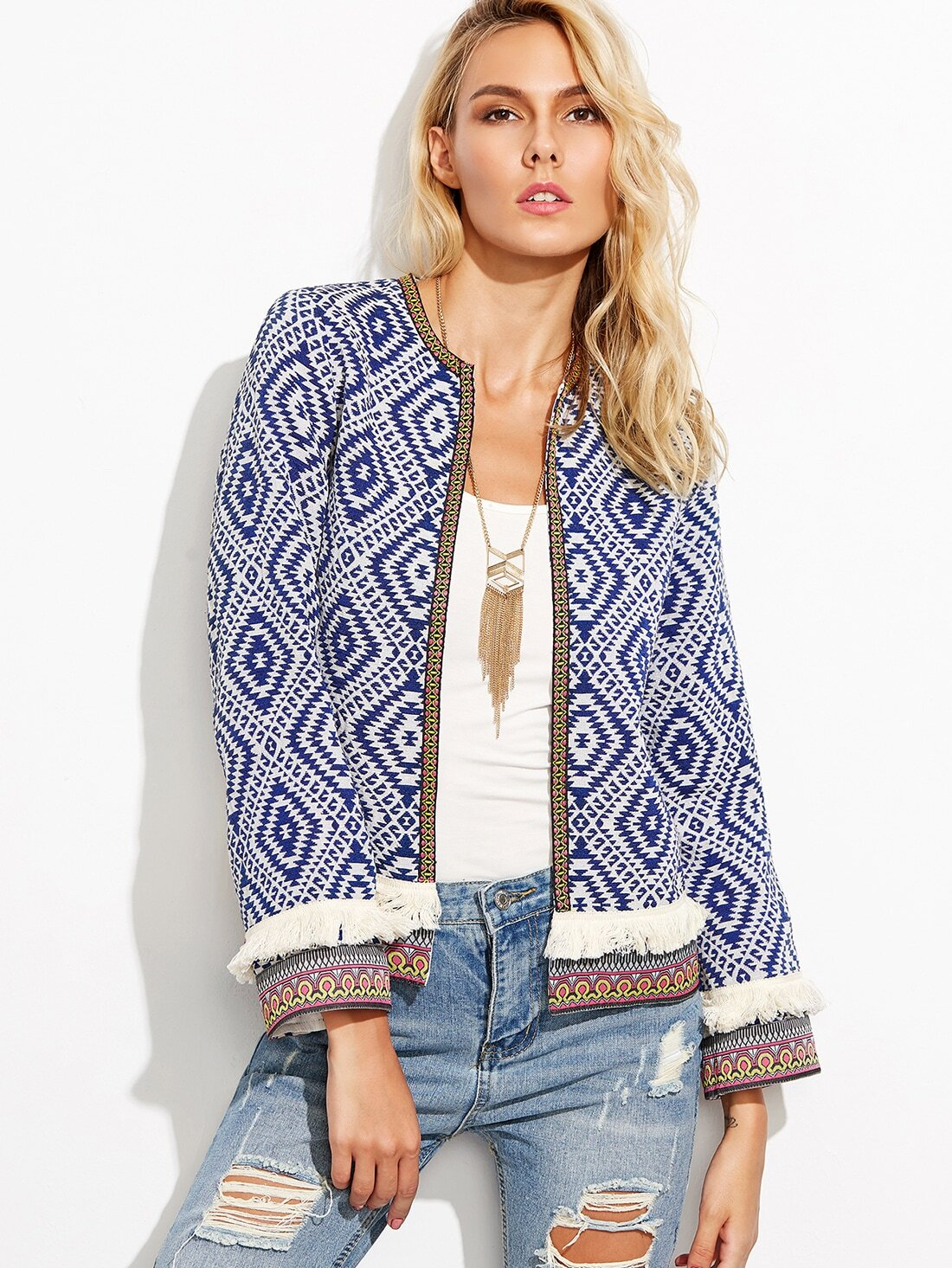f92d8e4b52 Blue Fringe Trim Tribal Jacket With Embroidered Tape EmmaCloth-Women ...
