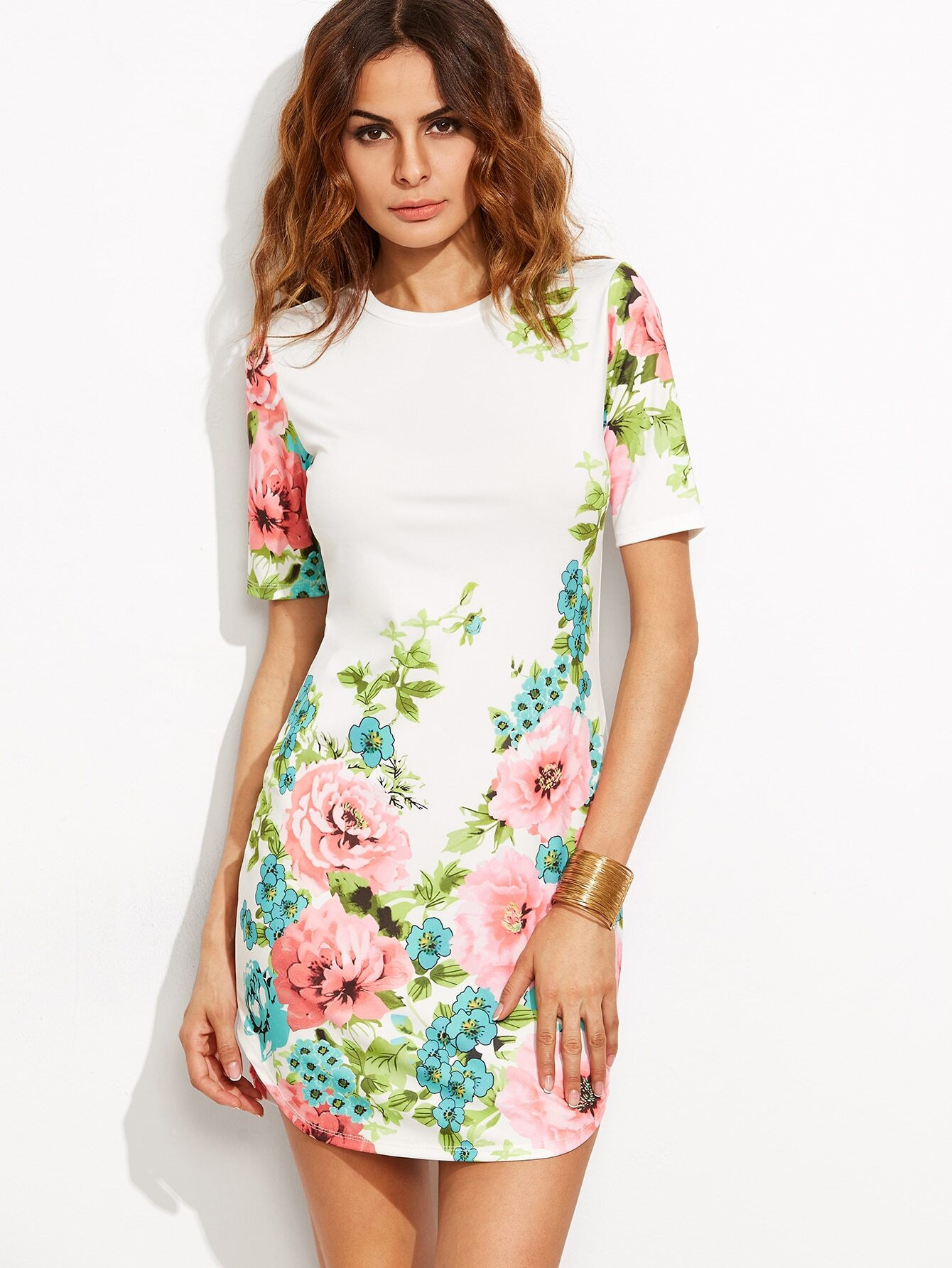 White Floral Print Short Sleeve Dress EmmaCloth-Women Fast Fashion ... d4f79a3d5