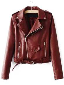 Brown Faux Leather Belted Moto Jacket With Zipper