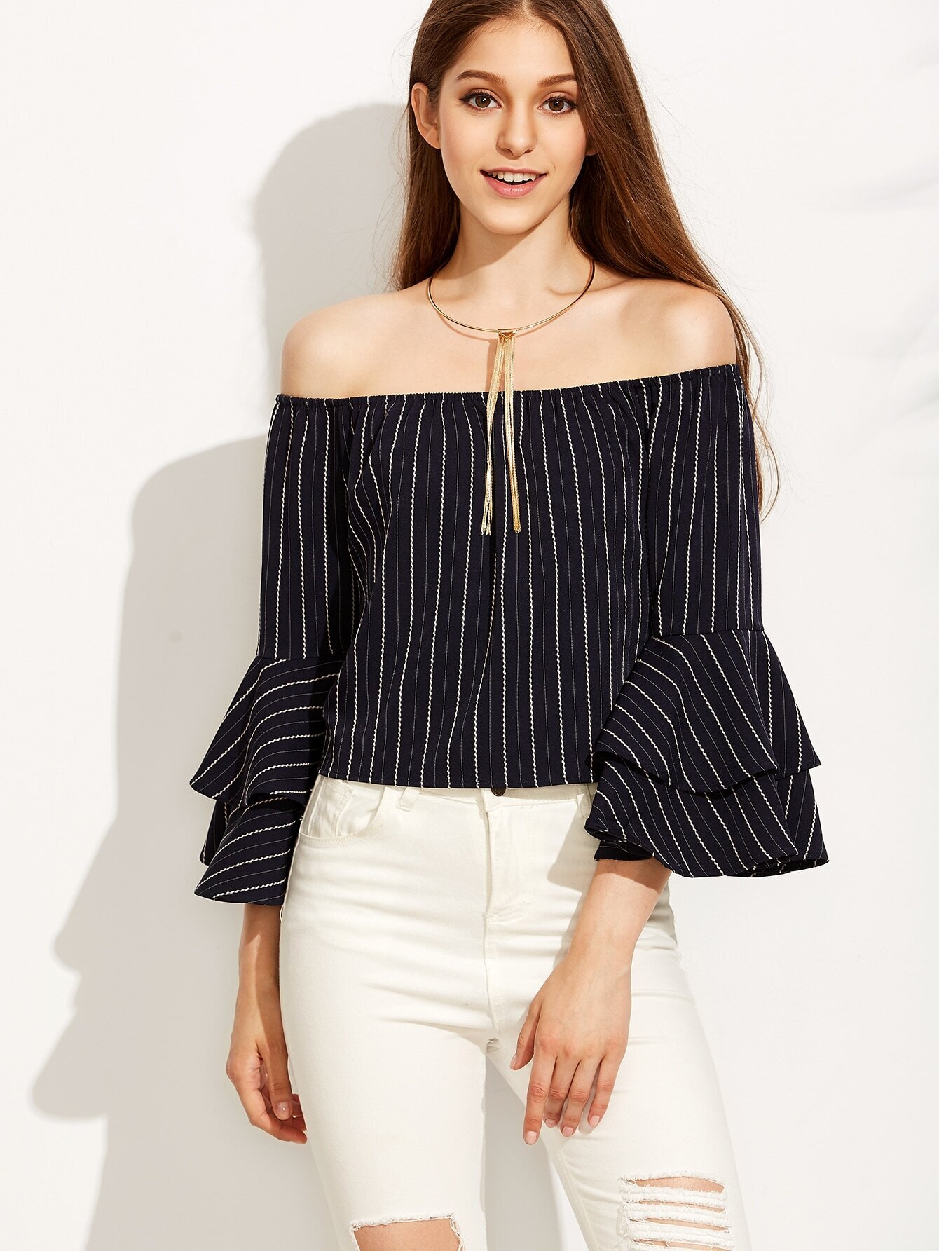 3da756c55bf73 Striped Off The Shoulder Bell Sleeve Top EmmaCloth-Women Fast ...