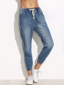 Blue Side Stripe Drawstring Waist Jeans