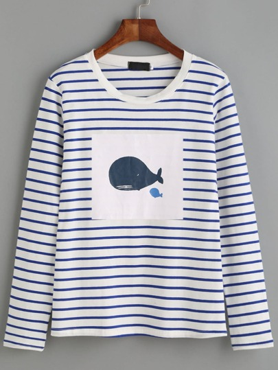 55a79e1b861 White Striped Whale Print T-shirt EmmaCloth-Women Fast Fashion Online