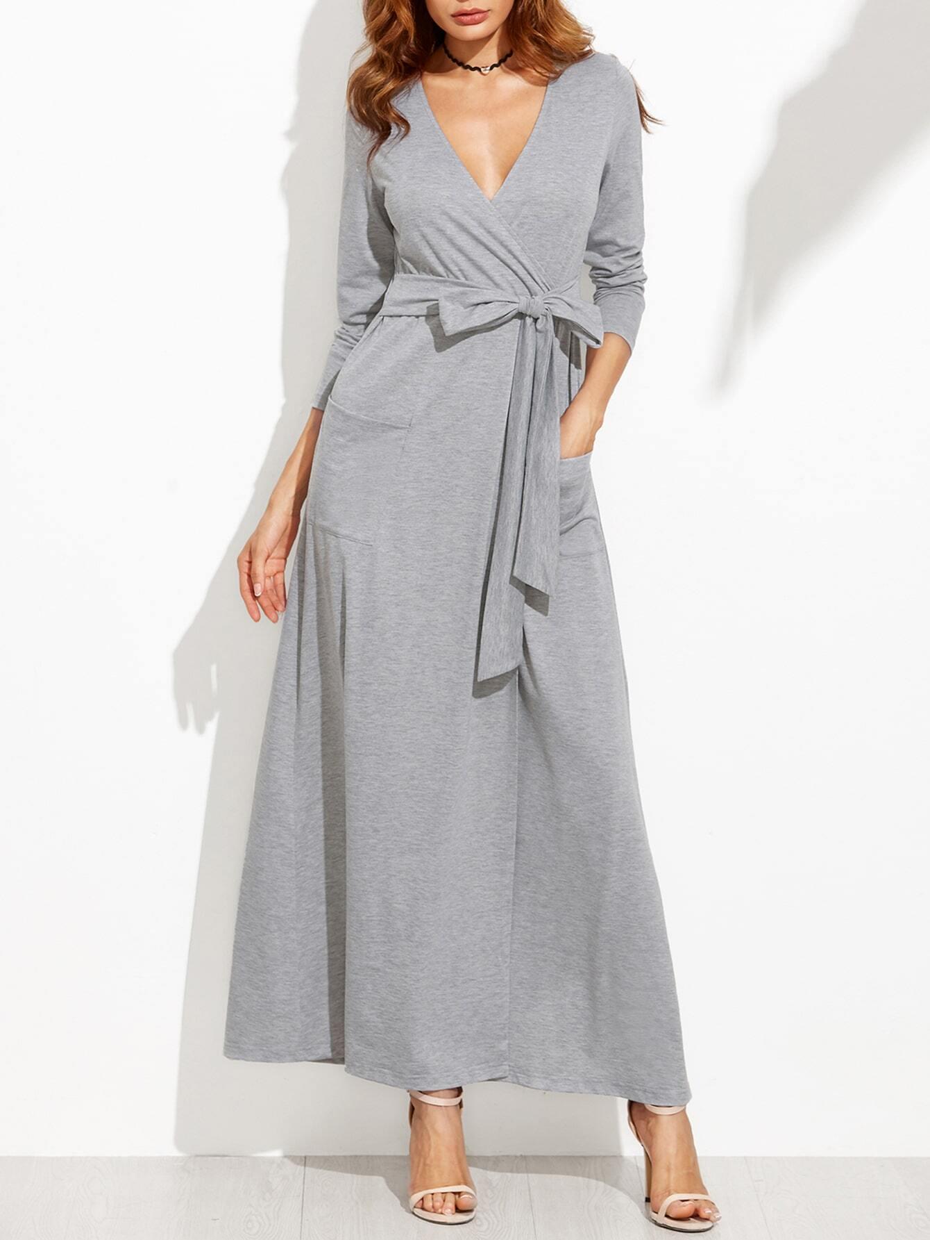 3e55c67ab37 Heather Grey Wrap Maxi Dress With Pockets EmmaCloth-Women Fast Fashion  Online