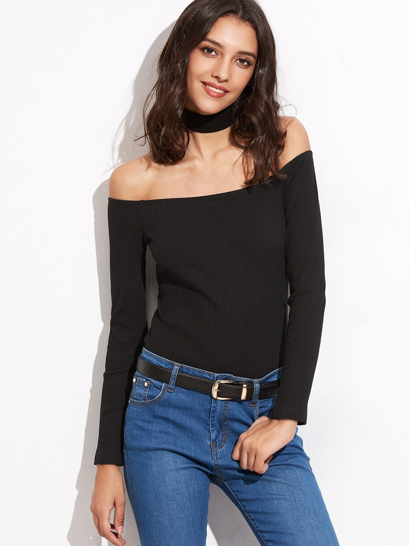e7a7dbe45dd41 Black Off The Shoulder Ribbed T-shirt With Choker EmmaCloth-Women ...