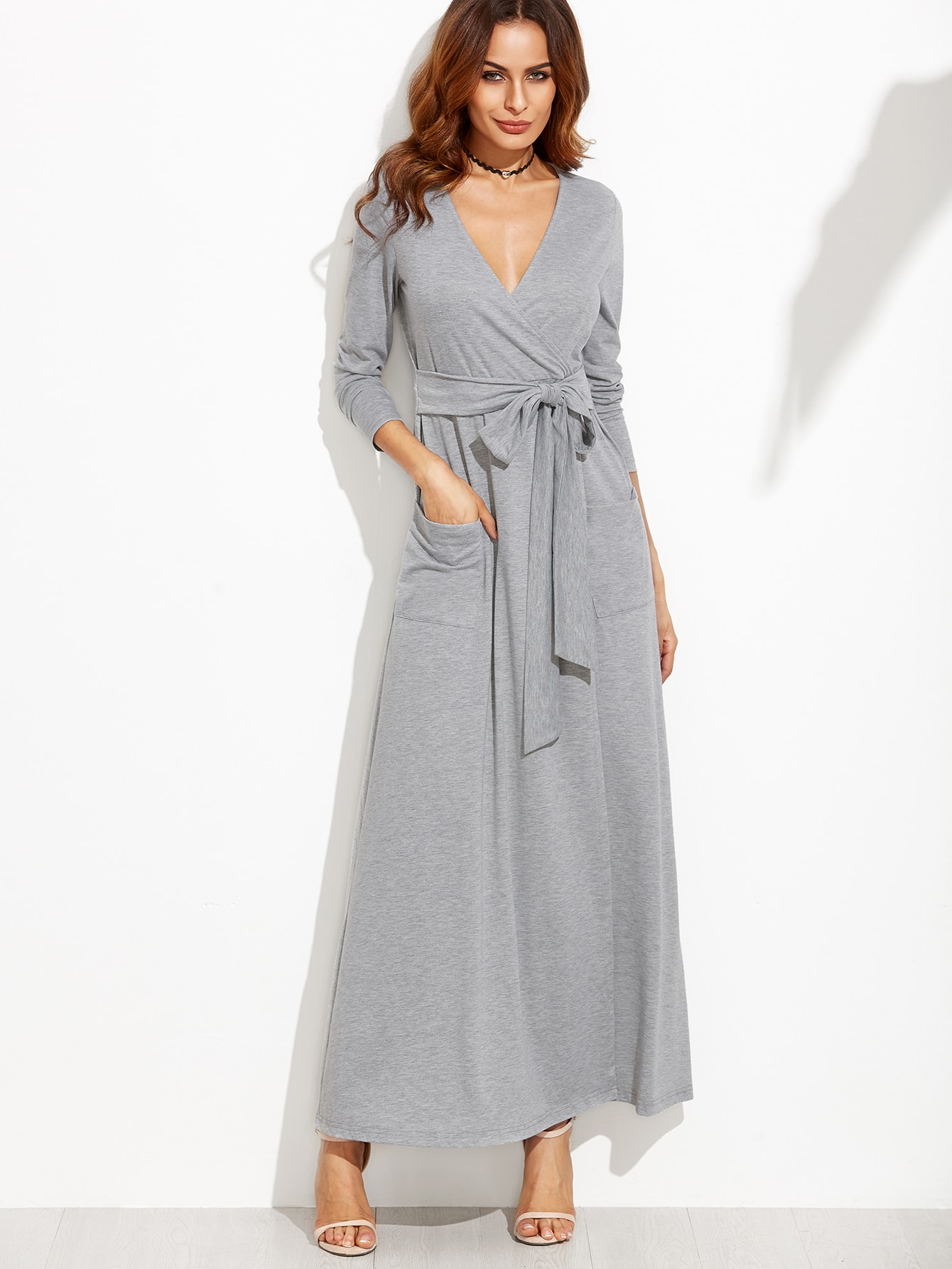 0a29310a8ee Heather Grey Wrap Maxi Dress With Pockets EmmaCloth-Women Fast ...