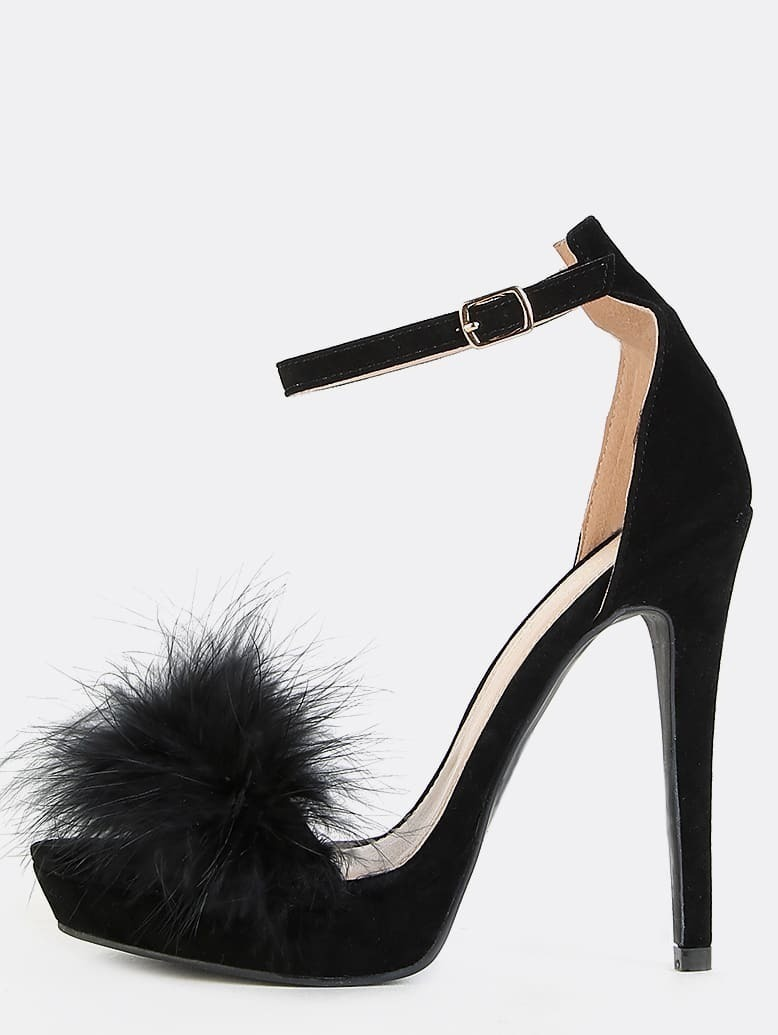 a6d8f1f96da1 Platform Feather Heels BLACK EmmaCloth-Women Fast Fashion Online