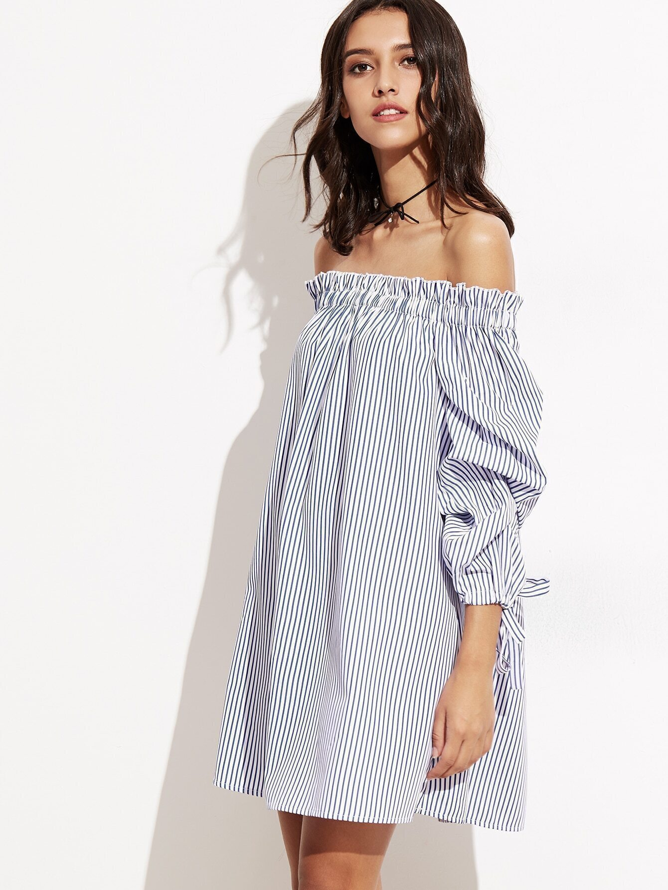 dff8756d8a Blue Vertical Striped Tie Sleeve Off The Shoulder Dress EmmaCloth ...