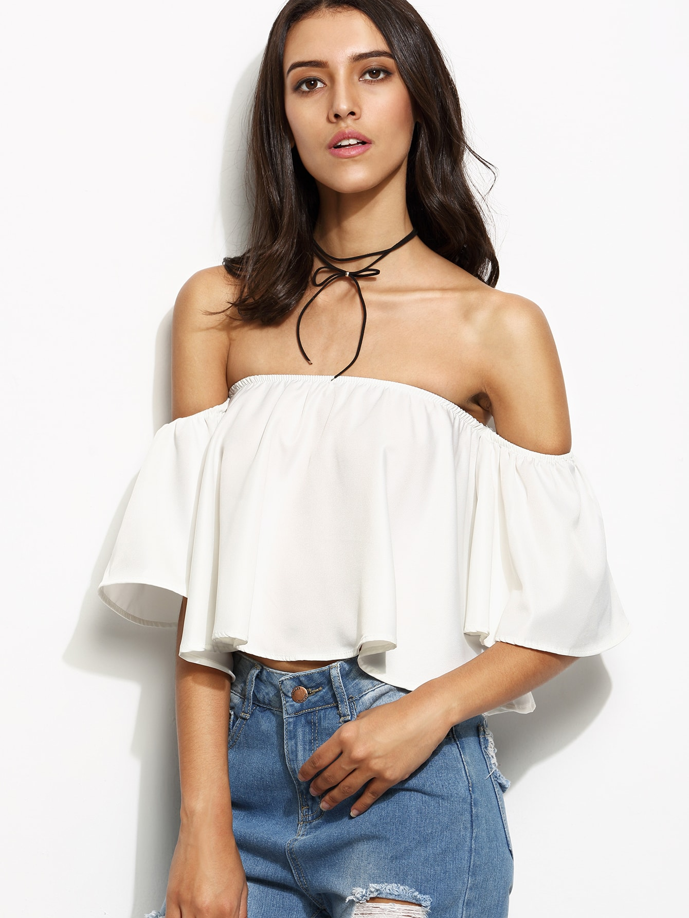 c32ae6318c6cb White Off The Shoulder Ruffle Crop Top EmmaCloth-Women Fast Fashion ...